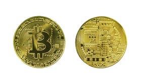 Изолированные фронт и назад сторона Bitcoin стоковое фото rf