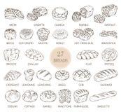Изолированные эскизы типов хлеба иллюстрация вектора