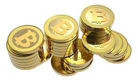 изолированные bitcoins штабелируют белизну Стоковое Изображение RF