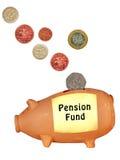 Изолированный банк Великобритания пенсионного фонда piggy, Стоковое Изображение