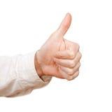 изолированный большой пец руки вверх по белизне Стоковое Изображение