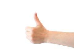 изолированный большой пец руки знака вверх Стоковые Фотографии RF