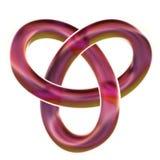 Изолированный бургундский узел петли 3D трилистника представляет на белой предпосылке Иллюстрация штока