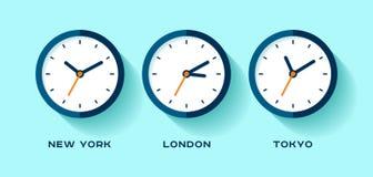изолированный вахт токио времени london новый мир york 3 белый Простые значки часов в плоском стиле Нью-Йорк, Лондон, токио вахта Стоковые Фото