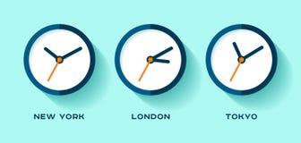 изолированный вахт токио времени london новый мир york 3 белый Простые значки часов в плоском стиле Нью-Йорк, Лондон, токио вахта Стоковые Фотографии RF