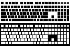 Изолированный вектор клавиатуры компьютера силуэта Черно-белый Ve Стоковые Фото