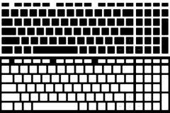 Изолированный вектор клавиатуры компьютера силуэта Черно-белый Ve Стоковое Изображение