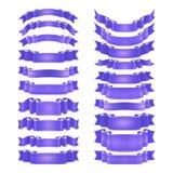 Изолированный вектор покрасил ленты сатинировки установленный Стоковое Изображение RF