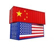 Изолированный грузовой контейнер Соединенных Штатов и Китая Концепция торговой войны бесплатная иллюстрация