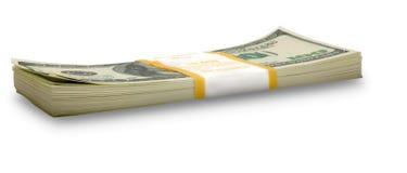 изолированный доллар штабелирует 10 тысяч Стоковое Фото