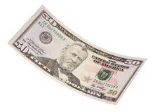 изолированный доллар 50 счета Стоковые Изображения