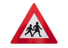 Изолированный дорожный знак - дети играя или пересекая стоковые фотографии rf