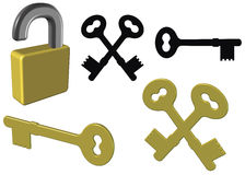 изолированный замок ключей Стоковые Фото