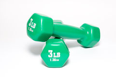 изолированный зеленый цвет гантелей Стоковая Фотография RF