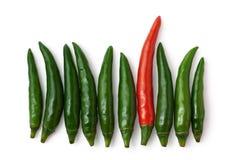 изолированный зеленый цвет предпосылки перчит красную белизну стоковое фото rf