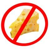 Изолированный знаков запрета сыра, концепция сал trans еды стопа иллюстрация вектора