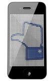 изолированный знак телефона thumbs сенсорный экран вверх Стоковые Фото
