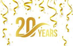 Изолированный золотой цвет 20 с значком лет слова на белой предпосылке с падая confetti золота и лентами, двадцатым иллюстрация штока