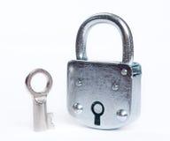 изолированный ключевой замок Стоковое фото RF