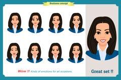 Изолированный комплект выражения женщины Молодые портреты эмоции Плоский дизайн Характер коммерсантки иллюстрация штока