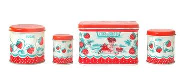 изолированный контейнером сбор винограда игрушки кухни установленный стоковое изображение
