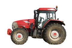 изолированный красный трактор Стоковые Фотографии RF