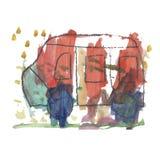 Изолированный красочный автобус детей акварели иллюстрация вектора