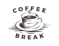 Изолированный логотип кофейной чашки с влиянием grunge на белой предпосылке Стоковое Фото