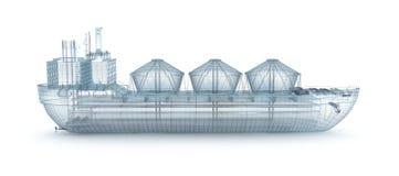 изолированный модельный провод белизны топливозаправщика корабля масла Стоковое Изображение RF