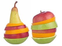 Изолированный на белизне отрезал плодоовощи Стоковые Изображения RF