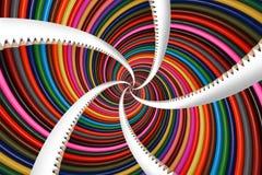 Изолированный на белой красочной радуге заточите фракталь картины предпосылки карандашей спиральную Рисуйте картину предпосылки А Стоковое Изображение RF