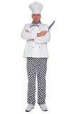 Изолированный нож удерживания шеф-повара высекая стоковое фото rf