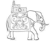 Изолированный объект крася, черные линии, белая предпосылка, слон в Индии, священном животном, украшениях на праздник Стоковые Изображения RF
