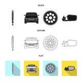 Изолированный объект символа автомобиля и части Установите сокращенного названия выпуска акций автомобиля и автомобиля для сети иллюстрация штока