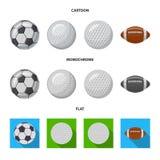 Изолированный объект спорта и логотипа шарика Собрание спорта и атлетический значок вектора для запаса иллюстрация штока