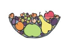 изолированный плодоовощ тарелки иллюстрация штока