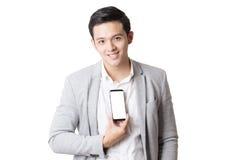 Изолированный портрет азиатского человека и предпосылки с знаком жеста Стоковые Изображения RF