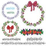Изолированный праздник wreathes с щетками картины Стоковые Фотографии RF