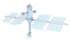 изолированный принципиальной схемой спутниковый провод белизны космоса иллюстрация вектора