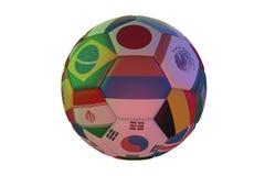 Изолированный реалистический футбол с флагами стран участвуя в мире чашка 2018, в центре России, Бразилия, Япония, k бесплатная иллюстрация