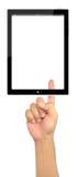 изолированный рукой ПК пусковой площадки отжимая касание Стоковая Фотография