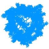 Изолированный силуэт взгляд сверху дерева - сине- вектор иллюстрация штока