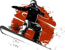 Изолированный силуэт скакать snowboarder также вектор иллюстрации притяжки corel бесплатная иллюстрация