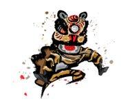 Изолированный скача китайский лев в различных цветах Стоковые Изображения