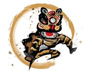 Изолированный скача китайский лев в различных цветах Стоковое фото RF