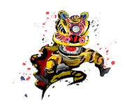 Изолированный скача китайский лев в различных цветах Стоковые Фотографии RF