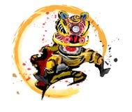 Изолированный скача китайский лев в различных цветах Стоковое Изображение RF