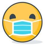 Изолированный смайлик нося медицинскую маску Изолированный смайлик иллюстрация вектора