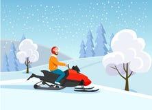 Изолированный снегоход молодого человека ехать над зимой валов снежка съемки ландшафта пущи иллюстрация вектора