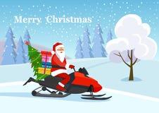 Изолированный снегоход Санта Клауса ехать над зимой валов снежка съемки ландшафта пущи иллюстрация штока